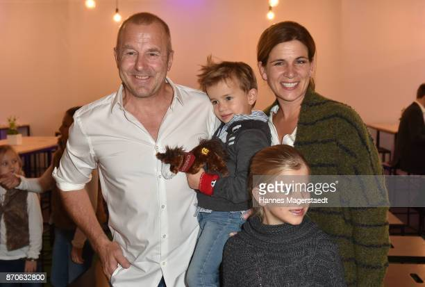 Heino Ferch and his wife MarieJeanette Ferch with teir children Gustav and Ava during the world premiere of the horse show 'EQUILA' at Apassionata...