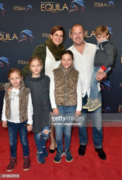 Heino Ferch and his wife MarieJeanette Ferch with their children Gustav Ava and friends during the world premiere of the horse show 'EQUILA' at...