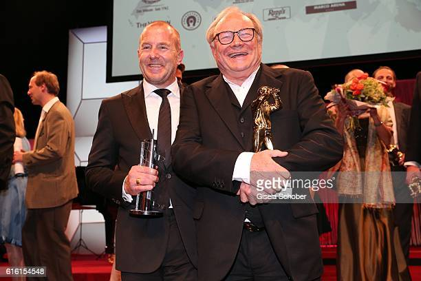 Heino Ferch and Klaus Maria Brandauer with award during the Hessian Film and Cinema Award at Alte Oper on October 21, 2016 in Frankfurt am Main,...