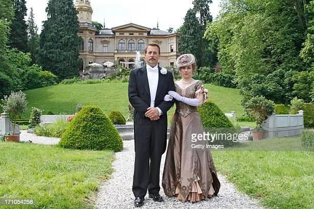 Heino Ferch Eva Loebau attend the photocall of 'Der Clan Die Geschichte der Familie Wagner' on June 21 2013 in Gmunden Austria