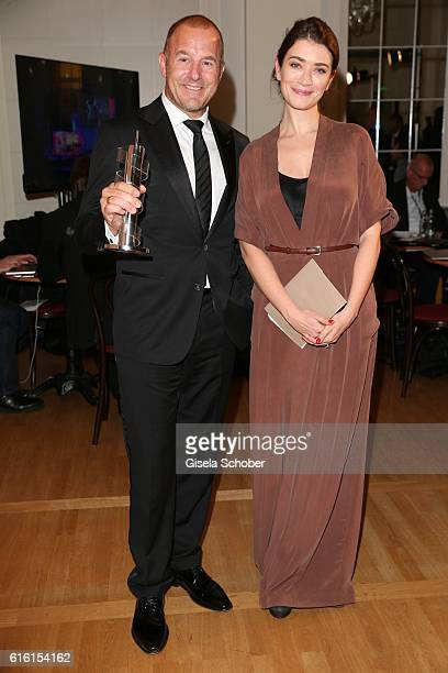 Heino Ferch with award for best male actor and Anna Bederke during the Hessian Film and Cinema Award at Alte Oper on October 21 2016 in Frankfurt am...