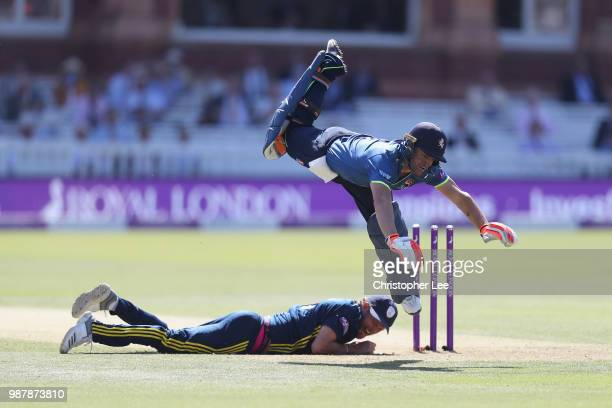 Heino Kuhn of Kent hurdles Gareth Berg of Hampshire after he is run out during the Royal London OneDay Cup Final match between Kent and Hampshire at...