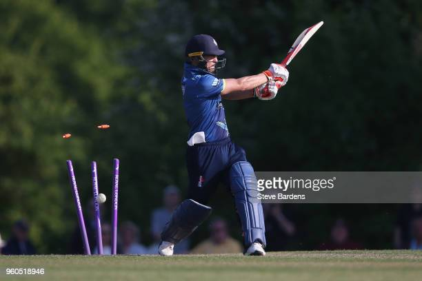 Heino Kuhn of Kent is bowled by Tom Helm of Middlesex during the Royal London OneDay Cup match between Middlesex and Kent at Radlett Cricket Club on...