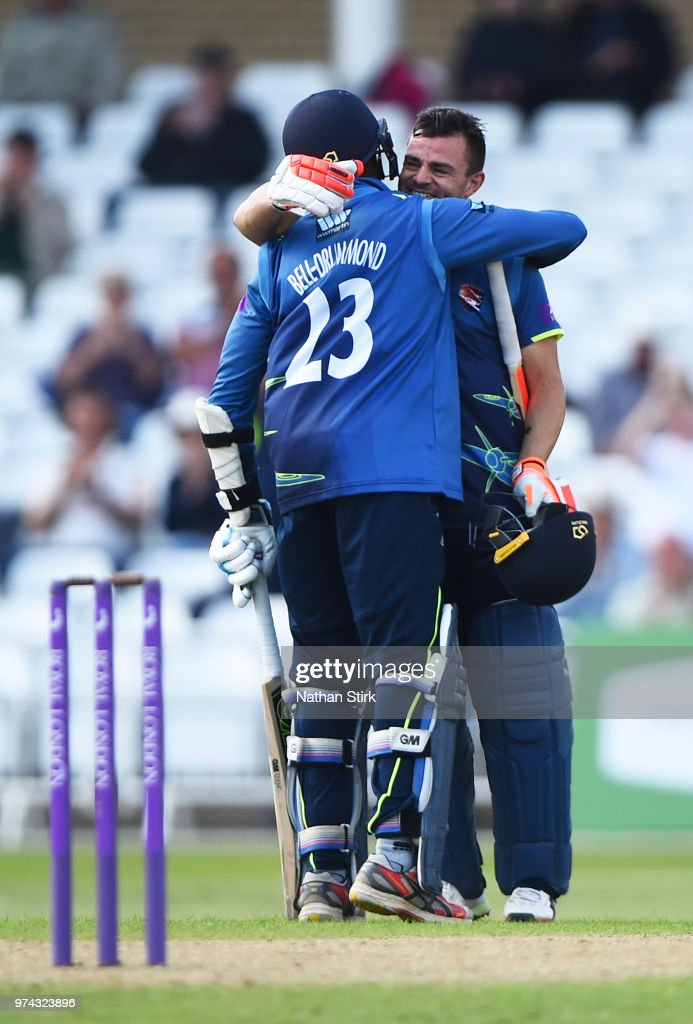 Heino Kuhn of Kent is hugged by Daniel Bell-Drummond after scoring 100 runs during the Royal London One-Day Cup match between Nottinghamshire Outlaws and Kent Spitfires at Trent Bridge on June 14, 2018 in Nottingham, England.