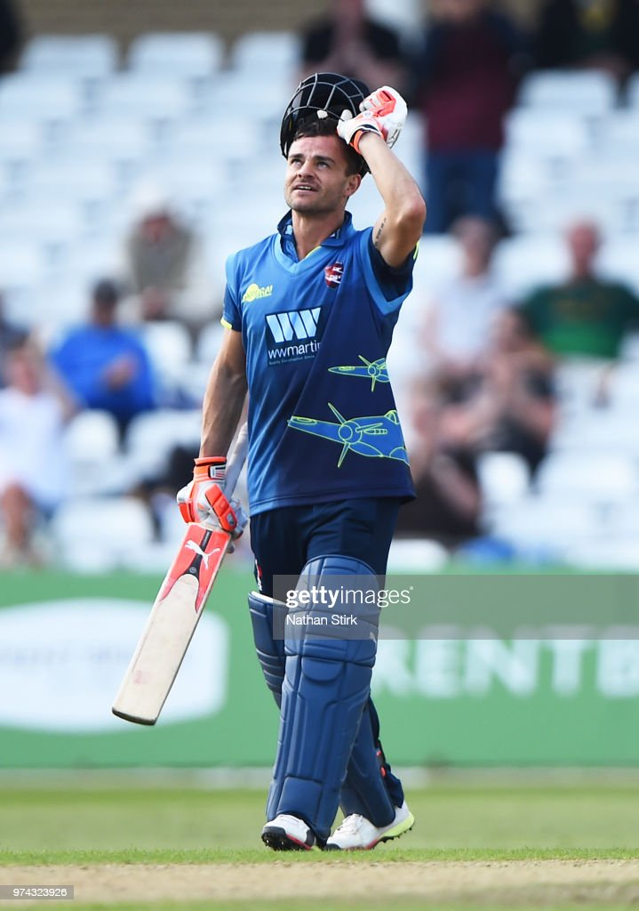 Heino Kuhn of Kent looks to the sky after scoring 100 runs during the Royal London One-Day Cup match between Nottinghamshire Outlaws and Kent Spitfires at Trent Bridge on June 14, 2018 in Nottingham, England.