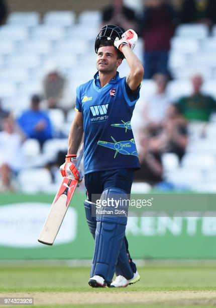 Heino Kuhn of Kent looks to the sky after scoring 100 runs during the Royal London OneDay Cup match between Nottinghamshire Outlaws and Kent...