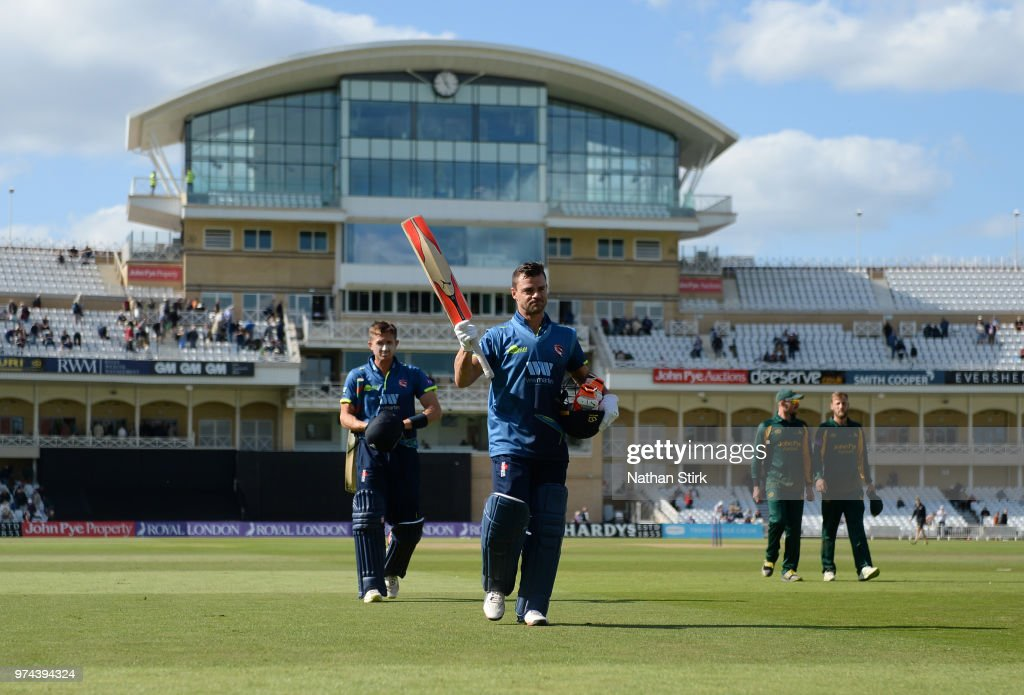 Heino Kuhn of Kent raises his bat after scoring 124 not out during the Royal London One-Day Cup match between Nottinghamshire Outlaws and Kent Spitfires at Trent Bridge on June 14, 2018 in Nottingham, England.