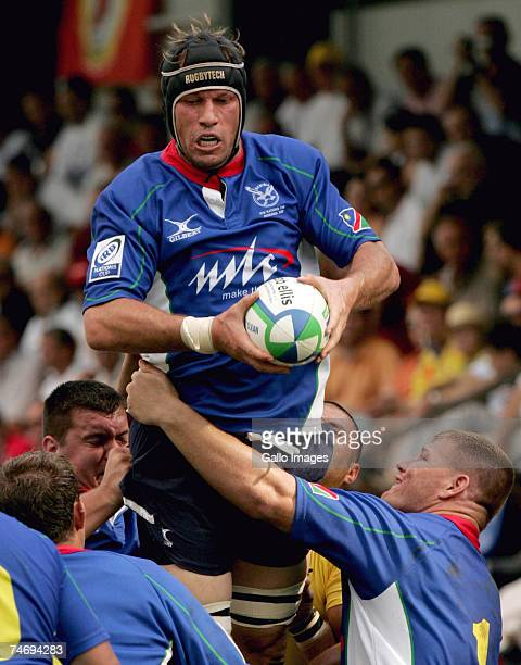 Heino Senekal of Namibia in action during the IRB Nations Cup match between Romania and Namibia held at the Tineretului Stadium June 16 2007 in...