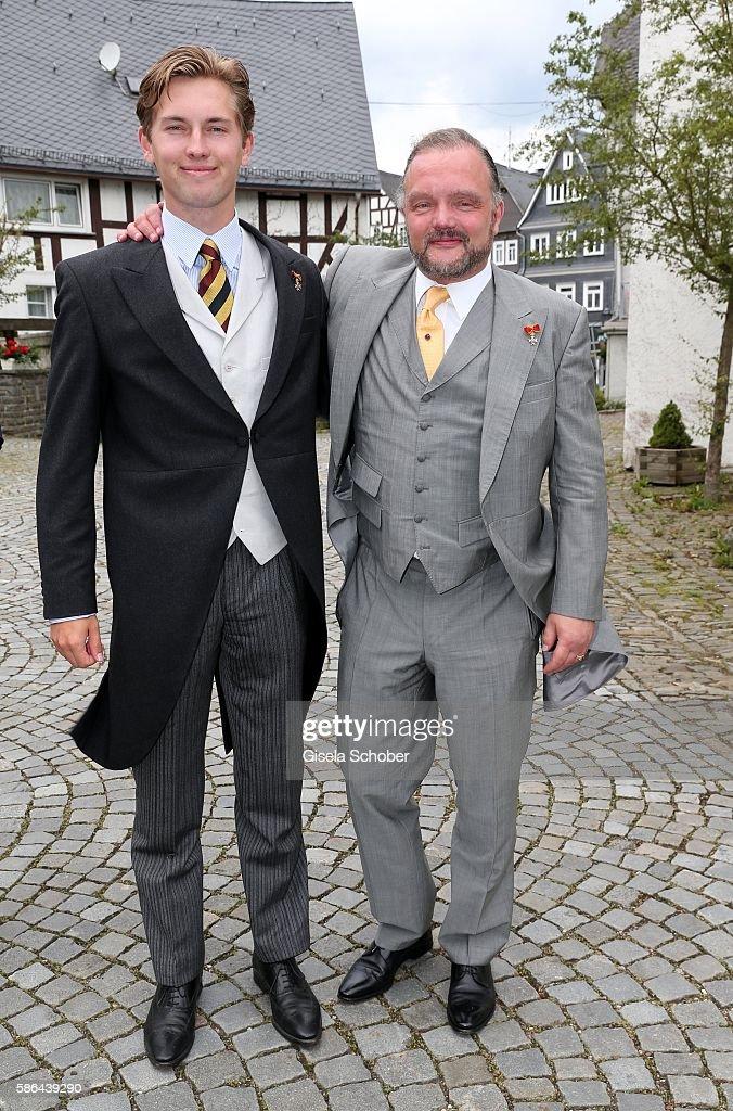 Heinrich Donatus Prinz zu Schaumburg-Lippe and his father Alexander Fuerst zu Schaumburg-Lippe during the wedding of Prince Maximilian zu Sayn-Wittgenstein-Berleburg and Franziska Balzer on August 6, 2016 in Bad Laasphe, Germany.