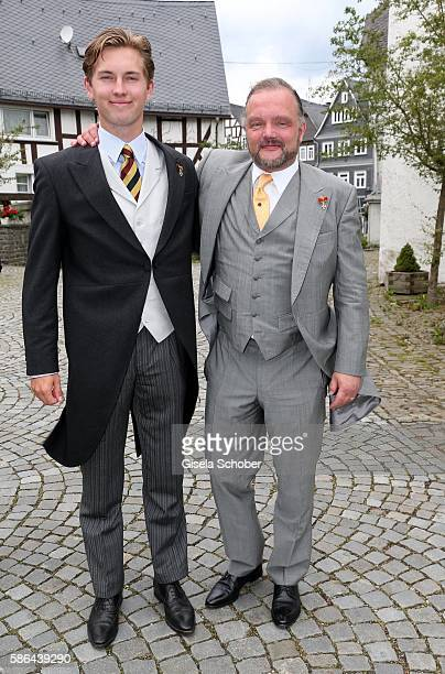 Heinrich Donatus Prinz zu Schaumburg-Lippe and his father Alexander Fuerst zu Schaumburg-Lippe during the wedding of Prince Maximilian zu...