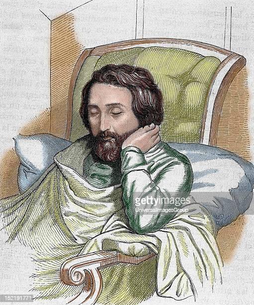 HEINE Heinrich German writer Engraving by Weger and Singer Coloured