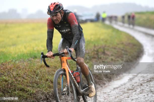 Heinrich Haussler of Australia and Team Bahrain Victorious competes through cobblestones sector during the 118th Paris-Roubaix 2021 - Men's Eilte a...