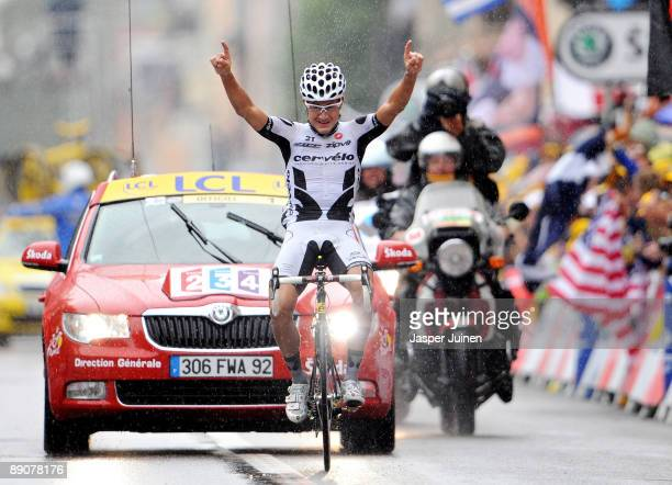 Heinrich Haussler of Germany and Cervelo Test Team celebrates winning stage 13 of the 2009 Tour de France from Vittel to Colmar on July 17, 2009 in...
