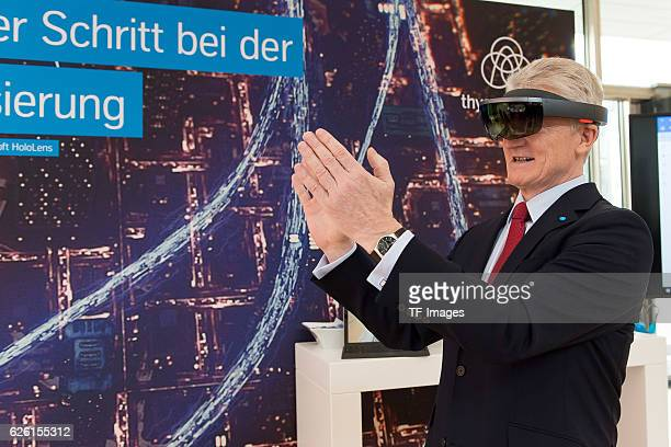 Heinrich Hiesinger CEO of ThyssenKrupp AG with a 3D glasses HoloLens from Microsoft on the ThyssenKrupp AG press conference on November 24 2016 in...
