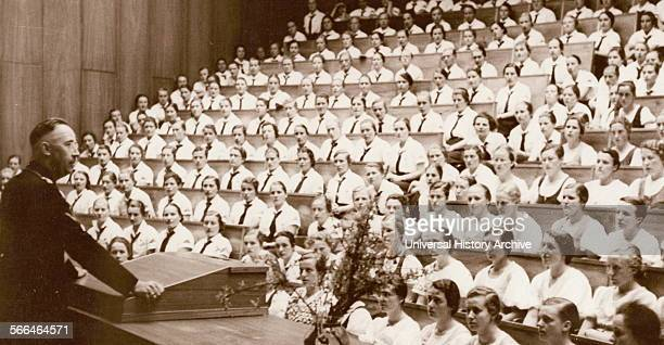 Heinrich Himmler addresses a group of female Hitler youth 1937