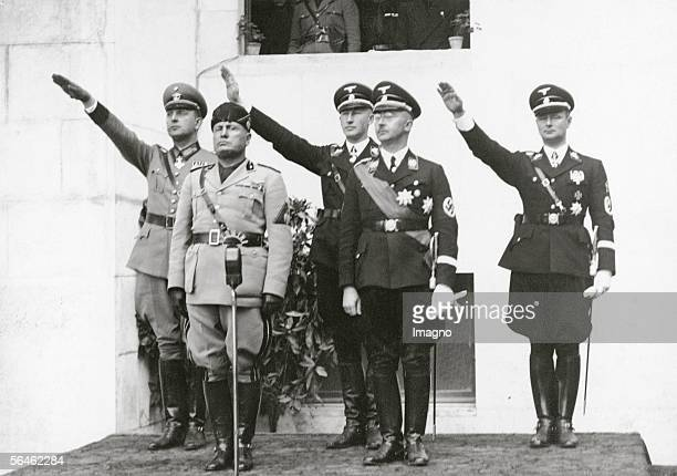 Heinrich Himmler and Benito Mussolini during a meeting of the police chiefs of Germany, Yugoslavia, Albania and Portugal. Photography. Around 1930....