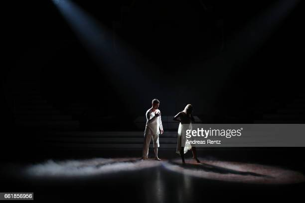 Heinrich Popow and Kathrin Menzinger perform on stage during the 3rd show of the tenth season of the television competition 'Let's Dance' on March 31...