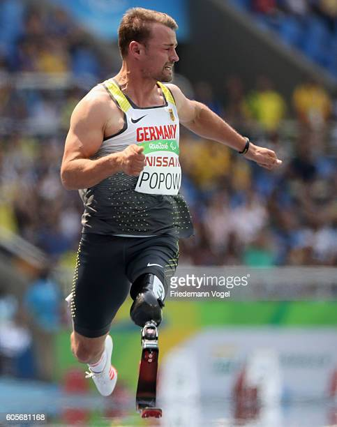 Heinrich Popow of Germany competes in the Men's 100m T42 on day 7 of the Rio 2016 Paralympic Games at the Olympic Stadium on September 14 2016 in Rio...