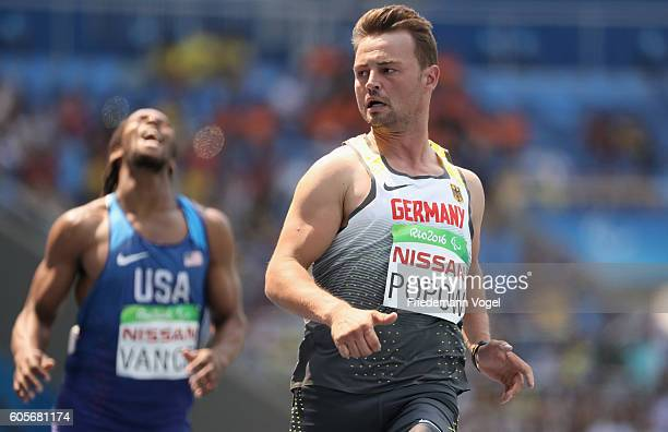 Heinrich Popow of Germany reacts after competing in the Men's 100m T42 on day 7 of the Rio 2016 Paralympic Games at the Olympic Stadium on September...