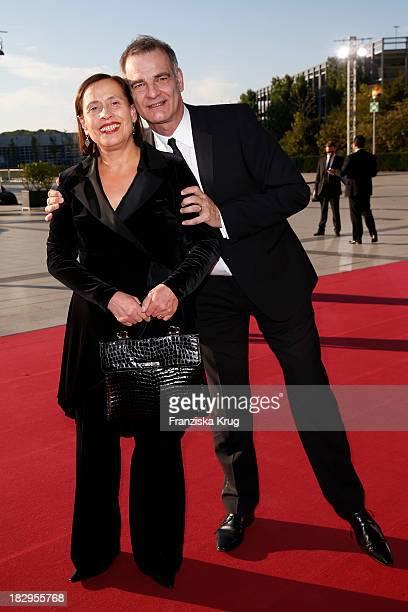 Heinrich Schafmeister and his wife Jutta Schafmeister attend the Deutscher Fernsehpreis 2013 - Red Carpet Arrivals at Coloneum on October 02, 2013 in...