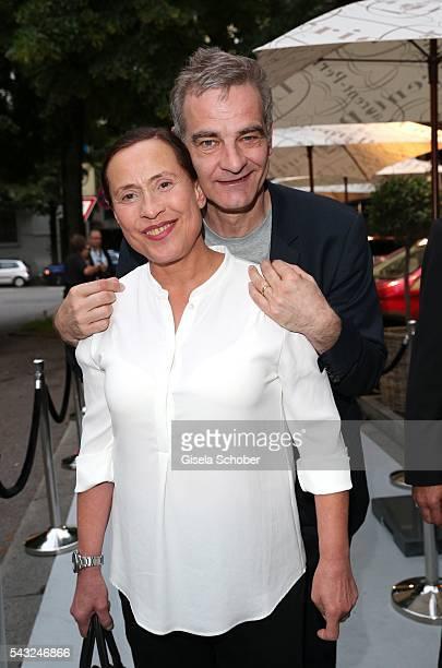 Heinrich Schafmeister and his wife Jutta Schafmeister during the Peugeot BVC Casting Night during the Munich Film Festival 2016 at Kaeferschaenke on...