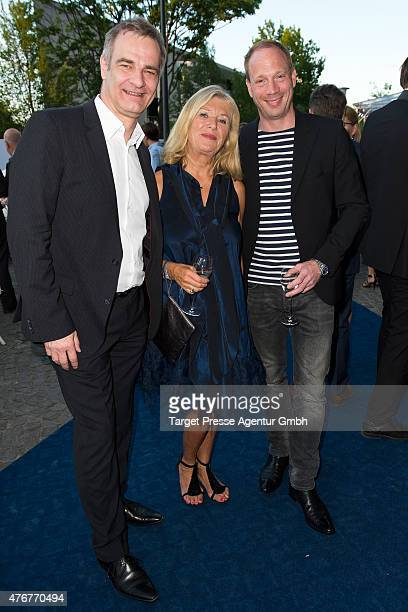 Heinrich Schafmeister, Jutta Speidel and Johann von Buelow attends the producer party 2015 of the Alliance German Producer - Cinema And Television on...