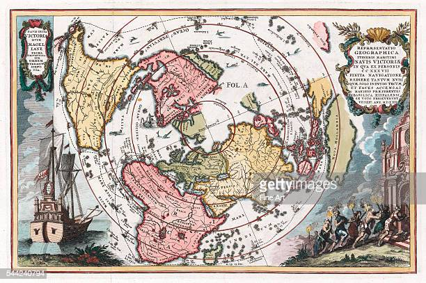 Heinrich Scherer magellanic world map entitled 'Representatio Geographica Itineris Maritimi Navis Victoriae' using north polar projection and showing...