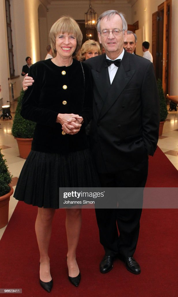 Heinrich von Pierer (R) and his wife arrive for the Hubert Burda Birthday Reception at Munich royal palace on February 12, 2010 in Munich, Germany.