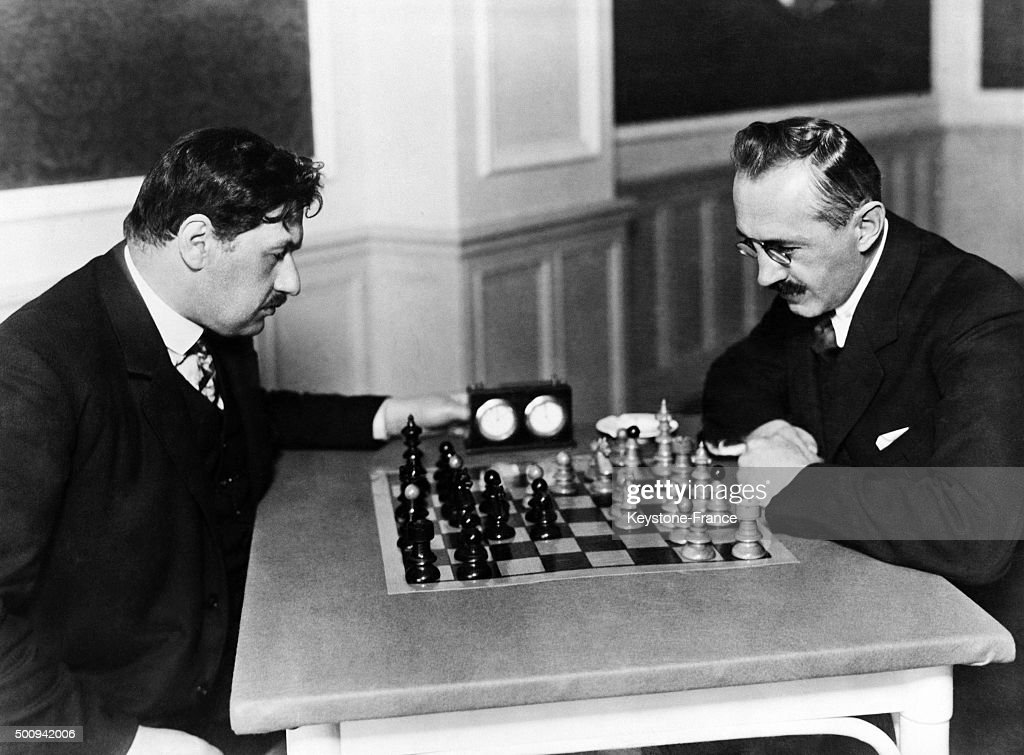Heinrich Wolf and Karel Treybal during a chess tournament... : News Photo