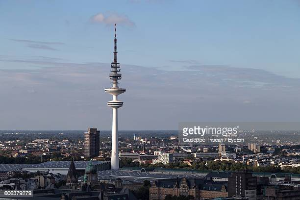heinrich-hertz-turm with cityscape against sky - hertz stock pictures, royalty-free photos & images