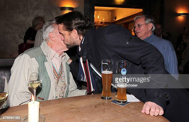 Heinz Baumann and son Patrick Wosin attend the NDF After Work Presse Cocktail at Parkcafe on March 19 2014 in Munich Germany