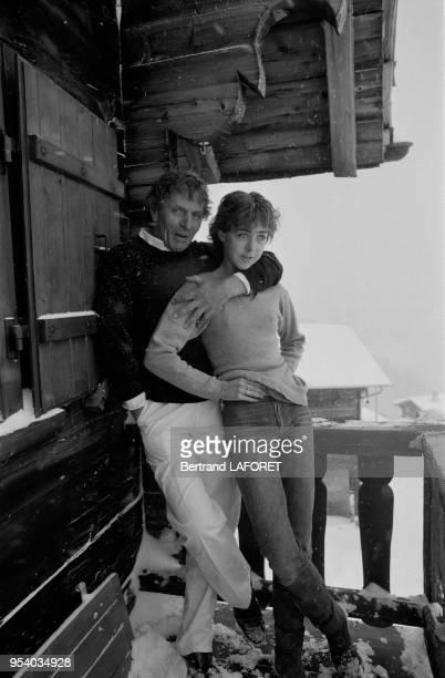 Heinz Bennent et sa fille Anne en vacances à Gstaad en janvier 1981 Suisse
