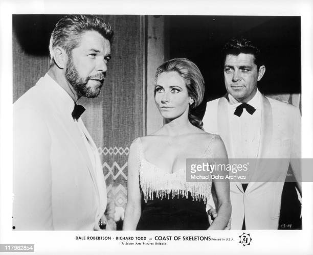 Heinz Drache with Elga Andersen and Dale Robertson in a scene from the film 'Coast of Skeletons' 1964