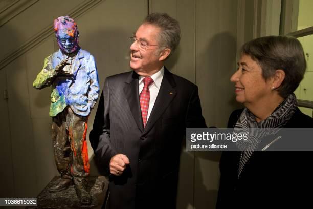 Heinz Fischer Austrian President and his wife Margit Fischer next to the bronze sculpture 'Willy Brandt the small sculpture' by Rainer Fetting during...