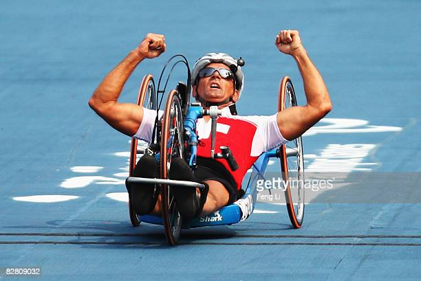 Heinz Frei of Switzerland wins the Gold in the Road Cycling Men's Road Race the Triathlon Venue during day eight of the 2008 Paralympic Games on...
