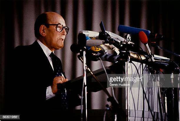 Heinz Galinski president of the Central Council of Jews in Germany addresses the opening of the World Jewish Congress in Berlin Germany 6th May 1990...