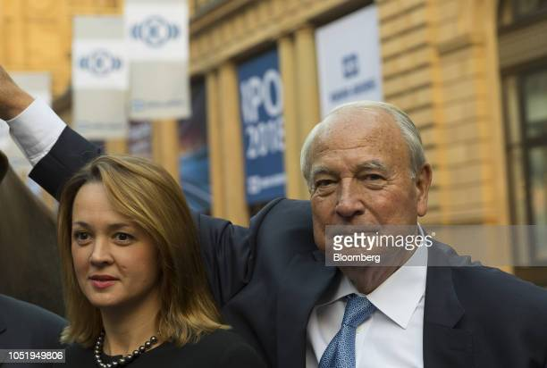 Heinz Hermann Thiele billionaire and majority owner of KnorrBremse AG right and his wife Nadja Thiele pose for a photograph outside the Frankfurt...