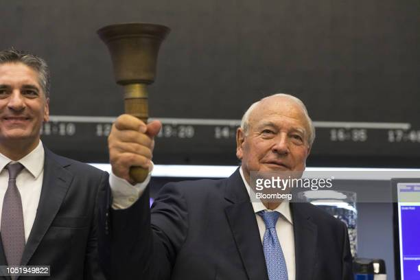 Heinz Hermann Thiele billionaire and majority owner of KnorrBremse AG rings the trading bell as the company makes its initial public offering at the...