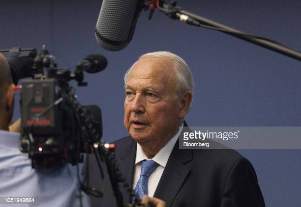 Heinz Hermann Thiele billionaire and majority owner of KnorrBremse AG speaks during a television interview as the company makes its initial public...