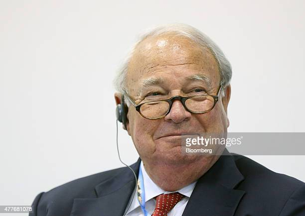 Heinz Hermann Thiele chairman of the supervisory board Vossloh AG reacts during a session at the St Petersburg International Economic Forum in Saint...