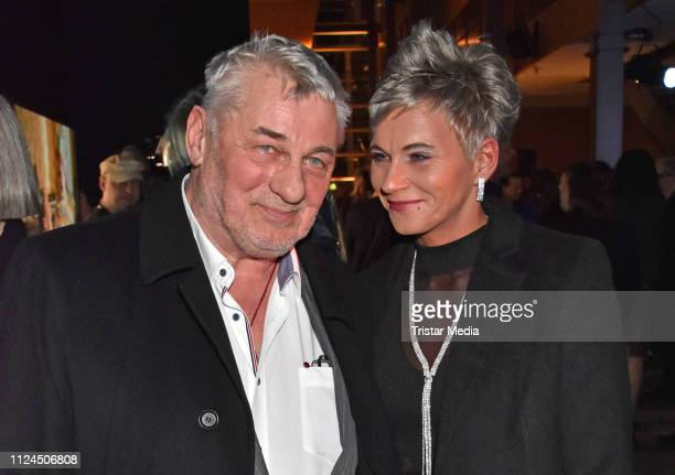 Heinz Hoenig and his girlfriend Annika Kaersten attend the NRW reception during 69th Berlinale International Film Festival on February 10 2019 in...