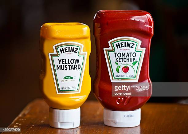 heinz ketchup and mustard - mustard stock pictures, royalty-free photos & images