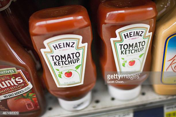 Heinz ketchup is offered for sale at Armitage Produce grocery store on March 25 2015 in Chicago Illinois Kraft Foods Group Inc said it will merge...