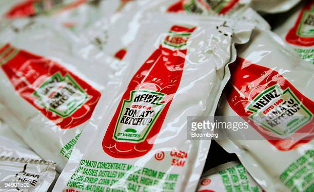 Heinz ketchup packets are shown in New York on Monday August 22 2005 HJ Heinz Co the world's biggest ketchup maker said firstquarter profit fell 19...