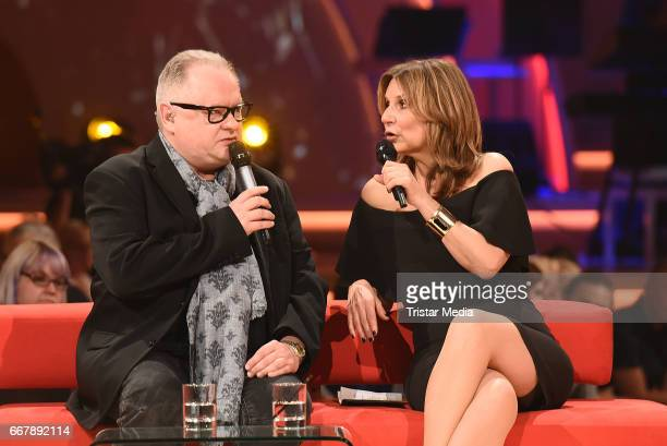 Heinz Rudolf Kunze and Kim Fisher during the show 'KULTHITS Die Show mit 100% Livemusik' presented by Kim Fisher at Kongresshalle on April 12 2017 in...