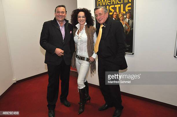Heinz Stiastny Christina Lugner and Richard Lugner pose for a photograph at the after party for the Austrian premiere of 'American Hustle' at Lugner...