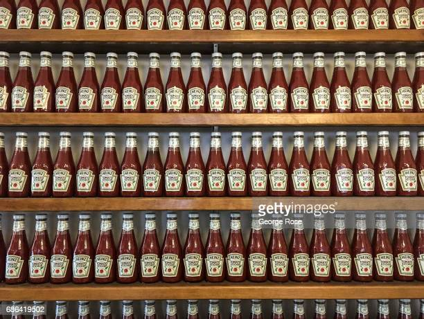 Heinz tomato ketchup is turned into a wall dislplay a the Farmer Boy restaurant on March 15 in Santa Barbara California Because of its close...