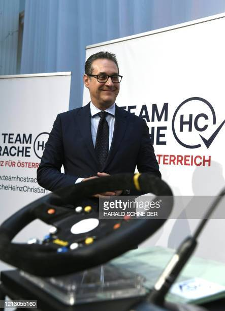 HeinzChristian Strache former leader of Austria's FPoe party gives a press conference on May 15 2020 in Vienna to present details of the Allianz für...
