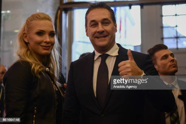 HeinzChristian Strache leader of conservative FPO party arrives at the Hofburg during the parlimentary elections Vienna Austria onOctober 15 2017