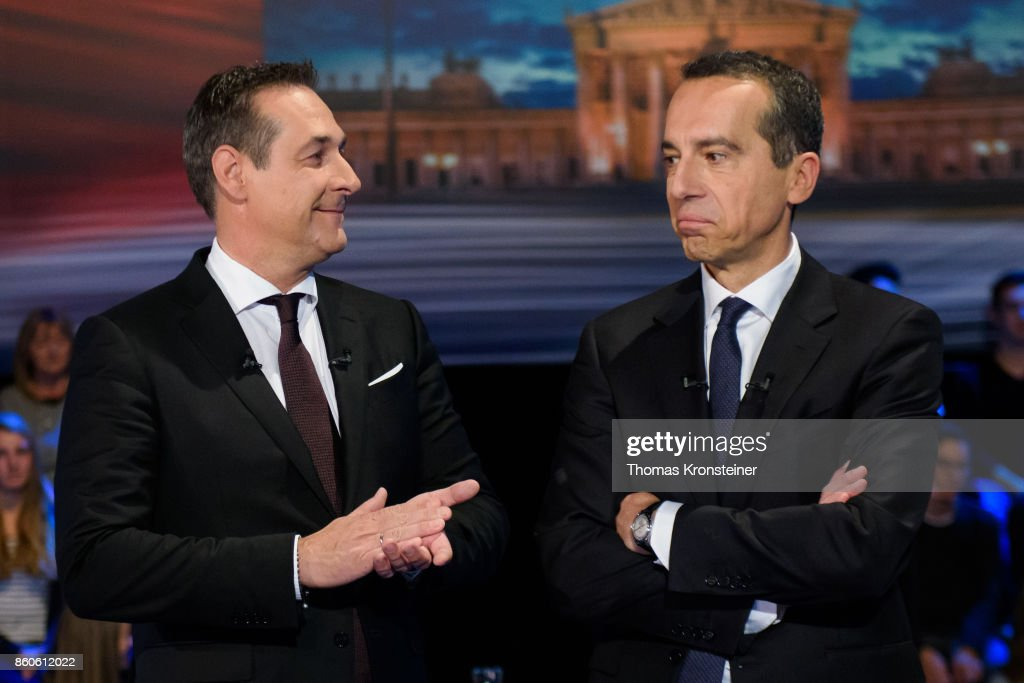 Heinz-Christian Strache of the right-wing Austrian Freedom Party (FPOe) and Austrian Chancellor Christian Kern of the Social Democratic Party (SPOe) are seen at ORF studios ahead the 'Elefantenrunde' television debate between the lead candidates prior to legislative elections on October 12, 2017 in Vienna, Austria. Austria will hold elections on October 15 and many analysts are predicting a win for the conservative Austrian People's Party (OeVP) of Sebastian Kurz, though that the next government coalition will very likely include the right-wing Austria Freedom Party (FPOe).